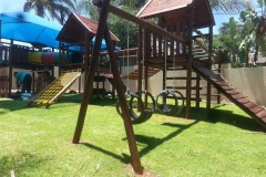 Jungle gym with swings and slide