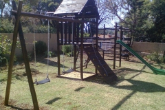 jungle gym with slide and swing